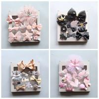 1 مجموعة = 10 قطع الأطفال الاكسسوارات هيرباند دبابيس بدلة هدية مربع للشعر الطفل الفتيات جميل القوس أغطية الرأس مقطع الشعر عقال