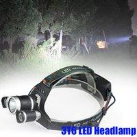 Crestech 6000Lm 3T6 LED Lampada frontale faro Lampada frontale Torcia 3 modalità + batteria 2x18650 + caricabatterie per pesca Luci 3T6 Faro