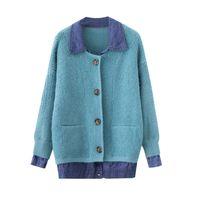 Malhas das Mulheres Tees Tees Denim Stitching Spring Sweater Jacket 2021 Casual Falso Two-Peça Jumper Jumper Cardigan Mulheres Casaco Chaqueta de Punto F457