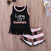 Girls suit summer cotton letters sleeveless striped shirt + ...