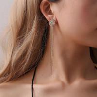 2020 새로운 패션 신부의 웨딩 귀걸이 실버 크리스탈 해바라기 술 스터드 귀걸이 여성 파티 쥬얼리