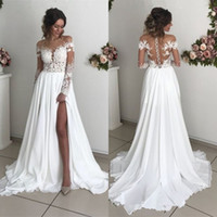 2019 Lace Chiffon Beach Bridal Gowns With Slit Glamorous ill...