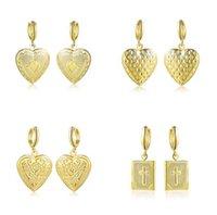 Мода 4 стиль Выбор крест любовь Сердце фазы box серьги открыть можно положить фото серьги золотой серебристый Fit женщина мадам Валентина подарки