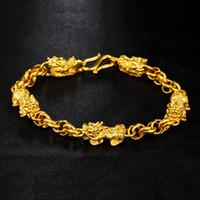 Ly1 latão ouro-banhado rosa pulseira simples areia ouro flor sorte pulseira simples pêssego flor pulseira pixiu