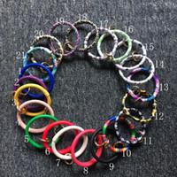 Großhandel Große Rabatt Sonnenblume Armbänder PU Leder Runde Armbänder Serape Kaktus Bullskull Rainbow Charm Armbänder mit O Ring