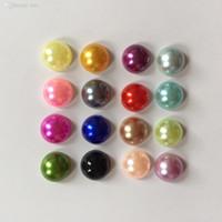 Yarım plastik İnci Boncuk Düz Geri Scrapbook / 8mm Flatback Boncuk hediyeler renk DIY düğün dekorasyon -B02A mix