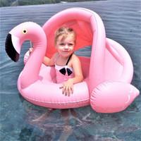Bebê Inflável Flamingo Swan Pool Float com Sombrinha Passeio-Em Natação Anel Seguro Assento Da Água Brinquedos Infantis Círculo