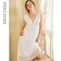 Ropa de noche de las mujeres de la novia del cordón blanco camisones Mujer dulce princesa durmiente del cordón atractivo principal vestido de señora camisón de la ropa de noche T658