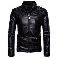Vestes en cuir pour hommes Mode Moto Collier Collier Poches à glissière Mâle Pu Manteaux Moker Vêtements De Vêtements de dessus Manche