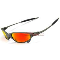 Top Gafas de sol de la marca X Metal Juliet Conducción Montando Ciclismo Corriendo Deportes Polarizado UV400 Gafas de sol de alta calidad Hombres Mujeres Iridium Color Mirror Ruby Red Azul