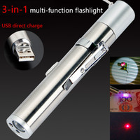 Lampe de poche à LED rechargeable rechargeable USB / puissant TORCH DE LED de conception étanche de la conception étanche design UV Billet de banque / pointeur laser