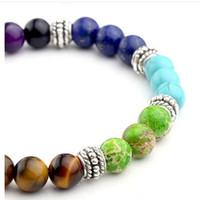 7 couleur charme naturel agate indienne bracelets forme ronde perles pierre de lave chakra guérison bracelets pour les femmes