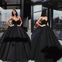 Vestido de baile preto Prom Dresses 2019 doce 16 com decote em v mangas puffy vestido de noite de tule árabe Dubai celebridade quinceanera vestido