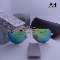 Оптово-Высокое качество Марка Дизайнер Зеркало Мужчины Женщины Полит Солнцезащитные очки UV400 Vintage Sport Солнцезащитные очки С коробкой и чехлами