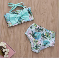 Girl Sleeveless Coconut and Ocean Wave Print Swimwear Set Ba...