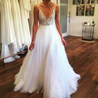 Vestidos De Noiva 2019 Mais Recente A Linha Backless V Pescoço Sheer Straps Boêmio País Vestidos De Noiva Rendas Tulle férias na praia robes de mariée