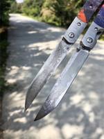 특별 제공 VG10 다마스커스 접는 블레이드 나이프 나무 + 다마스쿠스 스틸 헤드 핸들 야외 사냥 낚시 낚시 eDC 포켓 나이프