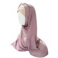 Ropa étnica Diamantes florales Hijab Abaya Dubai Muslim Mujeres Scarf Turban Niqab Turbante Mujer Jilbab Femme Musulman Hijabs Hoofdoek