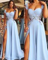 2020 vestidos de noche Retrato de novia Off-hombro fractura del lado apliques de encaje satinado de la cremallera de barrido tren vestido de la celebridad acanalada