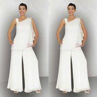 2020 elegante madre de los trajes de pantalón de gasa de novia para la boda del verano de escote asimétrico playa madre de marfil blanco de los vestidos de novio