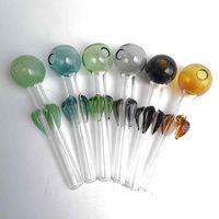 Petal Pyrex Vidrio Aceite de Vidrio Pies Dot Mano Fumar Pipes Accesorios 12 cm Cuencos de color Cuencos Dab Rigs Bongs Hoodashs