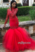 Sexy Red Long Sleeve Prom Dresses Mermaid High Neck Applique...
