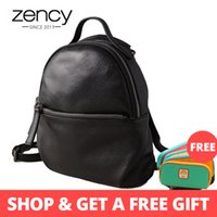 Zency 100% Real Cow Leather Fashion Women Backpack Black Sma...