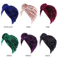 Les femmes musulmanes Turban Chapeau turban fleur perles coloré bouchon banane velours musulman foulard Turbante perte de cheveux accessoires de couverture