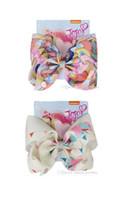 Cartoon elephant print ribbon 8 pollici jojo swia hair bows jumbo strass bowknot clip di capelli per bambini fatti a mano accessori per capelli per ragazza 12 pz