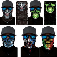 Máscara de Halloween Skeleton Motorcycle cara de bicicleta Máscaras Scarf Joker Headband Crânio disfarce para Ski Bike Cycling Pesca Outdoor Sports