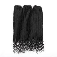 18-дюймовый мягкий природный черный Kanekalon Synthetic крючком Душа Богини Extensions Locs с фигурными End плетение волос для женщин