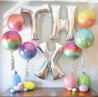 4D عيد ميلاد سعيد الاحتفال بالون الديكور تورط التدريجي الدائرية الألومنيوم طلاء بالون مهرجان حزب بالون