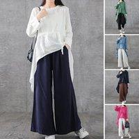 Kadın Bluzlar Gömlek 2021 Zanzea Düzensiz Bluz Zarif İpli Pamuk Uzun Kollu Kadın Bölünmüş Blusas Artı Boyutu Tunik