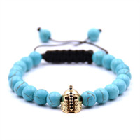 Golden Samurai Helmet 8MM Beads Braided Bracelet Uomo e Donna Fashion Glamour Jewelry