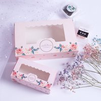 Pink Paper Gift Box With Window Wedding Party Pink Rose Wrea...