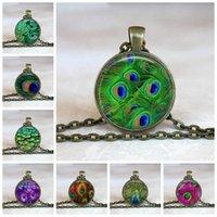 New Beautiful Piume di pavone Collana Mandala in vetro Cabochon Pendent per uomo Donna Gioielli Regalo creativo