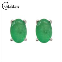Simple design emerald stud earrings 4 mm * 6 mm natural I gr...