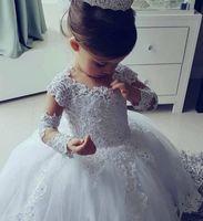 Прекрасный с длинным рукавом принцесса цветок девушки платья адиовизоры с бисером потрясающие милые девушки первое общение платье шарика