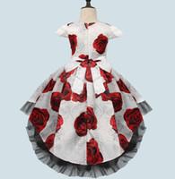 Bubble Skirt Flower Girl Dress Elegent Abiti da sposa nuovo anno costume partito di spettacolo del vestito dai vestiti per bambini per le ragazze principessa Dress sfera Gow