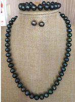 set di 9-10mm tahitian nero verde perla collana bar braccialetto orecchino 925 argento 925