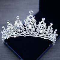 Moda Gümüş Kristal Tiaras Ve Taçlar Kadınlar Için Gelin Rhinestone Düğün Saç Takı Prenses Diadem Gelin Saç Süsler Pageant