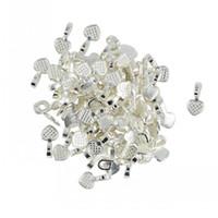 Bulk 500pcs/lot Silver White Heart Shaped Glue on Bails Pendant Cabochon Jewelry Findings Free Shipping