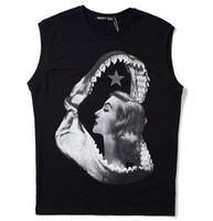 الفاخرة للرجال القطن الأسود سترة تي شيرت جديد رجل مصمم القرش الفم الجمال مطبوعة الصدرية الهيب هوب الصيف الرجال النساء اللياقة البدنية الصدرية