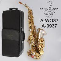 جودة عالية ياناجيساوا ألتو ساكسفون A-9937 A-WO37 الفضة مطلي الذهب الجسم الرئيسي الجميلة المنحوتة ألتو ساكس المهنية اللعب أداة