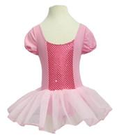Kinder Mädchen Party Tüll Ballett Tanzabnutzung Rosa Kurzarm Gymnastik Trikot Tanzen Tutu Kleid Ballerina Kostüm Lyrical Dancewear