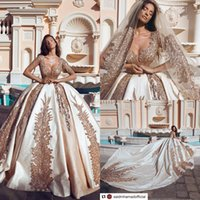 2019 New Said Gold Appliques Ball Gown Abiti da sposa Principessa Sheer Scoop Neck Maniche lunghe Appliqued Abiti da sposa Formale cappella Train