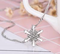 Nuovo arrivo cristallo blu fiocco di neve fiore congelato collane in argento 925 pendenti con catena catena migliore regalo per la ragazza libera la nave