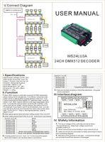 Freeshipping WS24LU3A 24CH DMX 24 canali DMX 512 Decoder di RGB Decoder per striscia di RGB LED Module luci 24x3A WS24LU3A