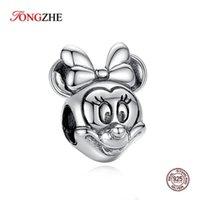 Charms Tongzhe 925 Ayar Gümüş Mouse Charm Kolye Boncuk Fit Orijinal Kadınlar Bilezik DIY Takı 2021