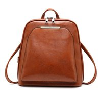 Elegant Vintage Oil Wax Leather Backpack for Women Small Travel Casual Shoulder School Bags  Leather Laptop Bag